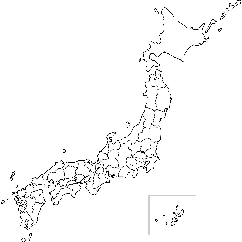 日本地図のイラスト(白地図)