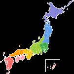 日本地図のイラスト(地方区分色分け)