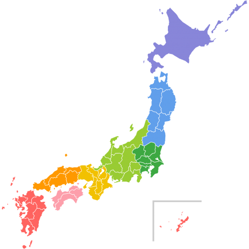 日本地図(地方区分色分け)