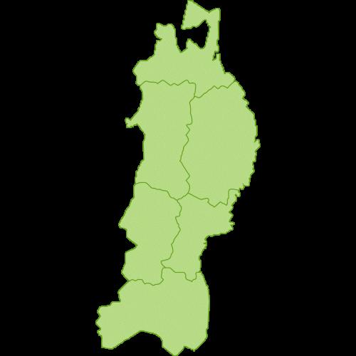 東北地方の地図のイラスト