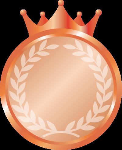 王冠が付いたメダルのイラスト<銅>