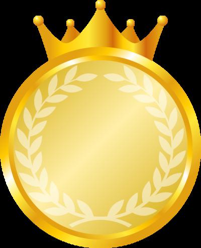 王冠が付いたメダルのイラスト<金>