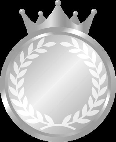 王冠が付いたメダルのイラスト<銀>