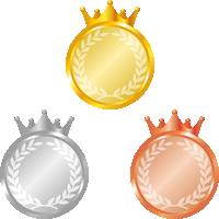王冠が付いたメダルのイラスト<金・銀・銅>