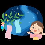 【七夕イラスト】天の川を眺める女の子