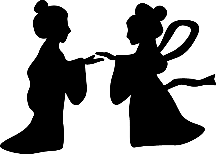 【七夕素材】織姫と彦星の白黒イラスト
