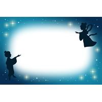 七夕のフレーム枠イラスト素材(夜空と織姫・彦星)