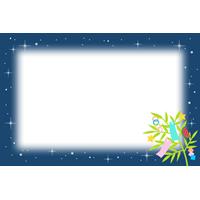 七夕飾りと夜空のフレーム枠イラスト