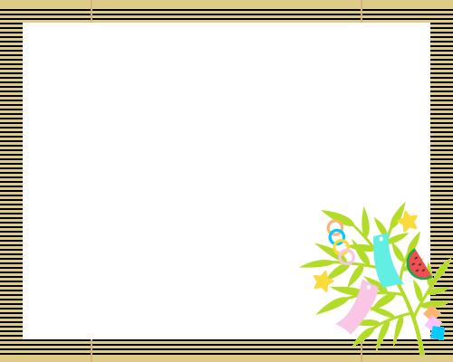簾(すだれ)と七夕飾りのフレーム枠イラスト