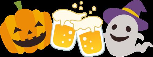 [ハロウィンイラスト]ビールで乾杯するかぼちゃランタンとゴースト