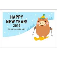 2019年賀状デザイン無料テンプレート「スキーをするかわいい猪」