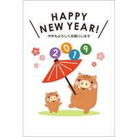 2019年賀状デザイン無料テンプレート「傘回しをするかわいい猪」