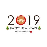 2019年賀状デザイン無料テンプレート「2019とかわいい猪」