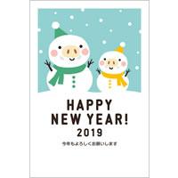 2019年賀状デザイン無料テンプレート「雪だるまになったかわいい猪の親子」