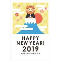 2019年賀状デザイン無料テンプレート「富士山に登ったかわいい猪と初日の出」