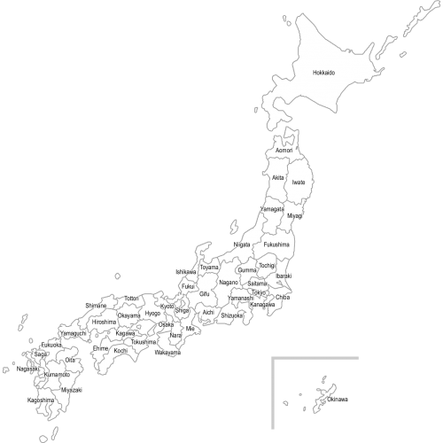 【英語表記:都道府県名入り】日本地図(白地図)