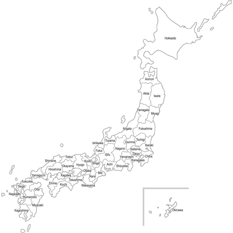 【英語表記:都道府県名入り】日本地図のイラスト(白地図)