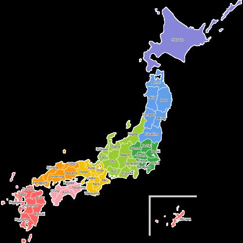 【英語表記:都道府県名入り】日本地図(地方区分色分け)