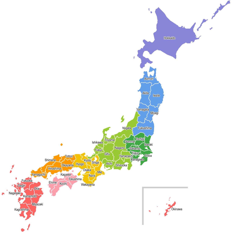 【英語表記:都道府県名入り】日本地図のイラスト(地方区分色分け)