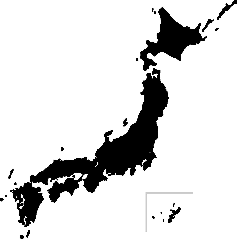 日本地図のシルエット(白黒・モノクロ)イラスト