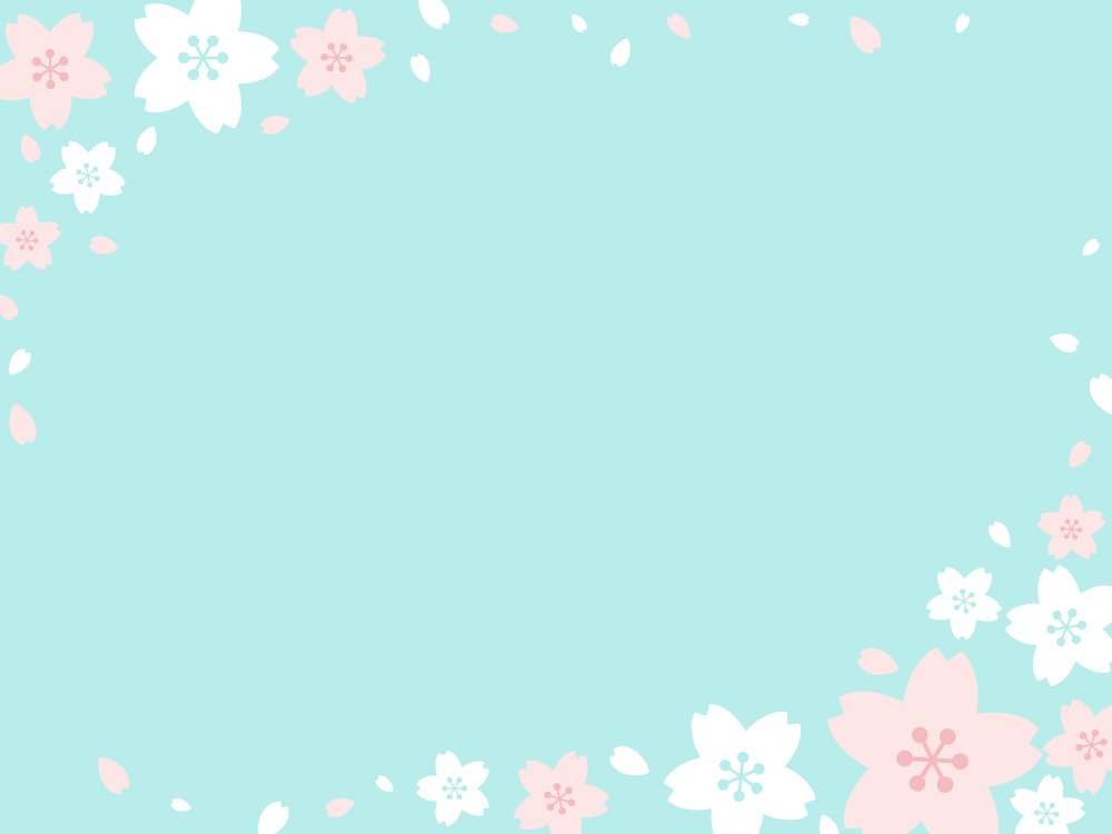 桜の背景素材(水色) 無料フリーイラスト素材集【frame Illust】