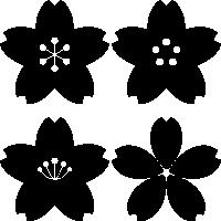 桜の花のイラスト(白黒・モノクロ・シルエット)