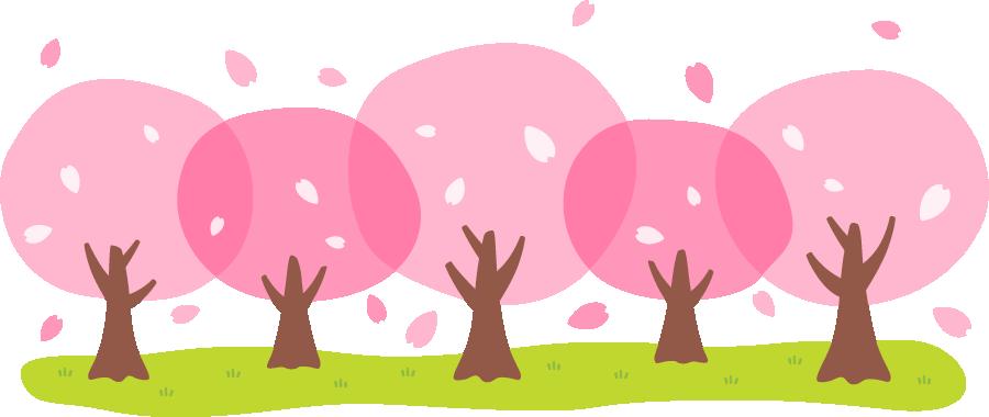 桜並木のイラスト<大>