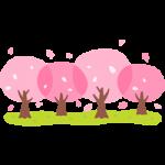 桜並木のイラスト素材
