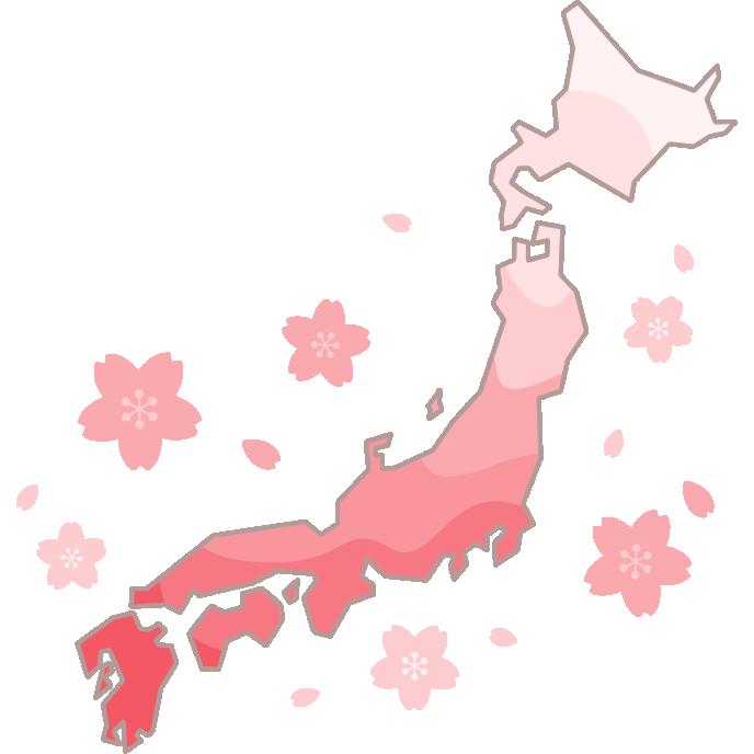 桜前線(桜開花予想)のイラスト
