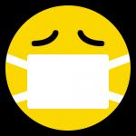 マスクをしたニコちゃんマーク(風邪・病気の絵文字)