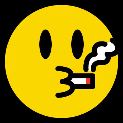 タバコを吸うニコちゃんマーク(喫煙の絵文字)