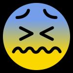 辛い表情のニコちゃんマーク(絵文字)