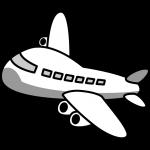 飛行機のイラスト(白黒)