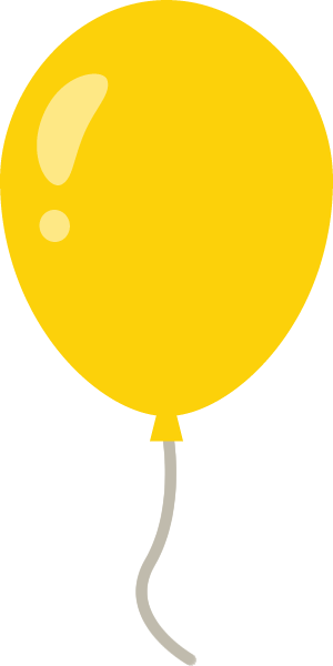 風船のイラスト<黄色>