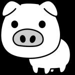 豚のイラスト(白黒)