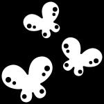 蝶々(ちょうちょ)の白黒イラスト