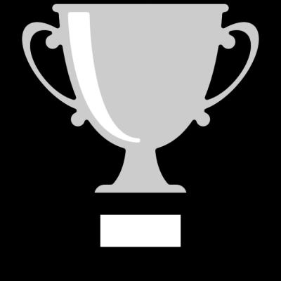 優勝カップのイラスト(白黒)