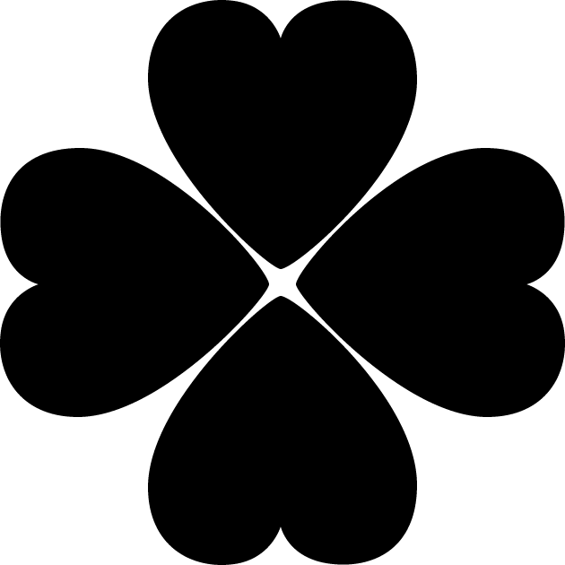 四つ葉のクローバーのシルエットイラスト