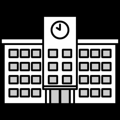 学校(校舎)の白黒イラスト