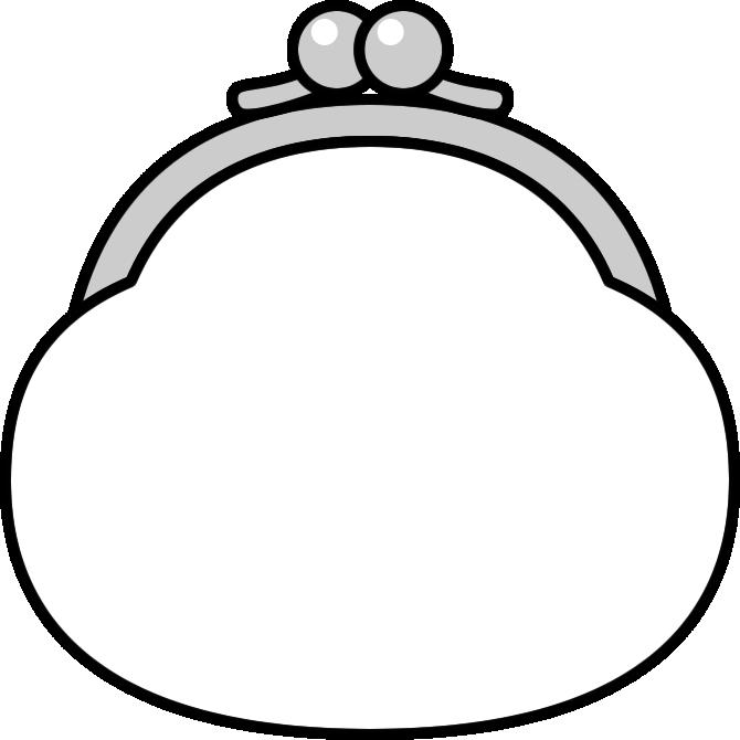 がま口財布のイラスト(白黒)