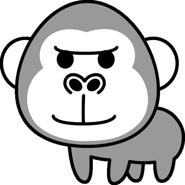 ゴリラのイラスト(白黒)