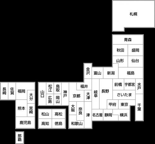 【県庁所在地名入り】日本地図のデフォルメイラスト<白地図:グレー>
