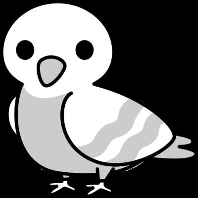 鳩のイラスト(白黒)