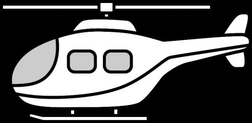 ヘリコプターのイラスト(白黒)