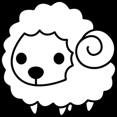 羊のイラスト(白黒)