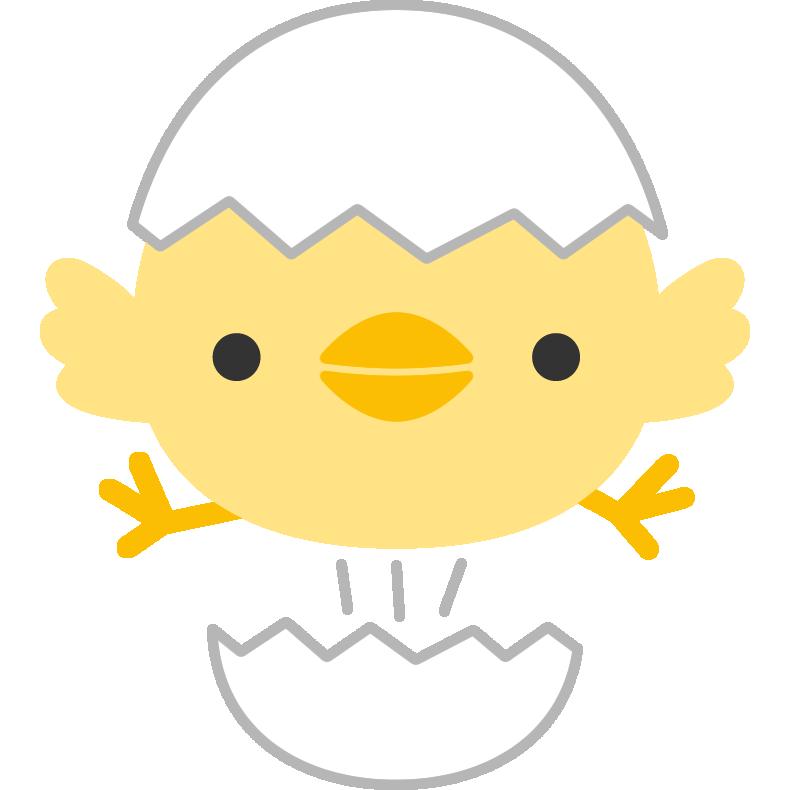 卵から飛び出すひよこのイラスト