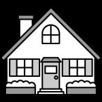 家のイラスト(白黒)