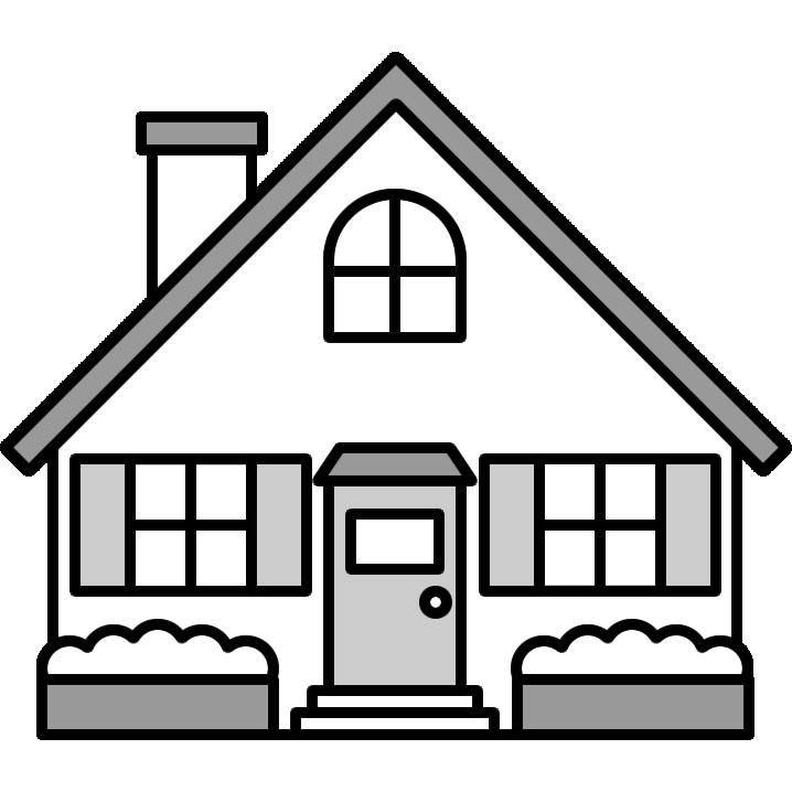 家のイラスト白黒 無料フリーイラスト素材集frame Illust