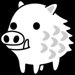イノシシのイラスト(白黒)
