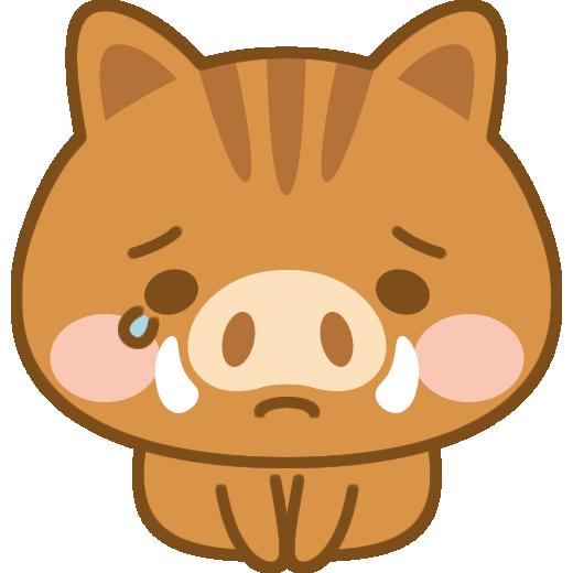 土下座をして謝る猪のイラスト